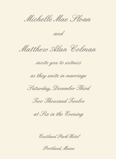 Premium Plain Wedding Invitation Card - Ecru (50 Pack)