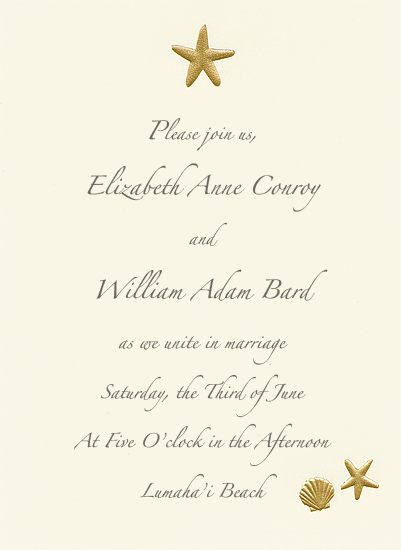 Beach Wedding Invitation - Golden Shore (50 Pack)