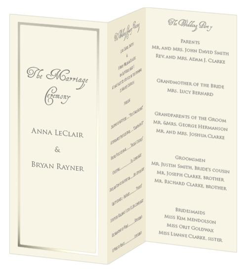 foil border wedding programs