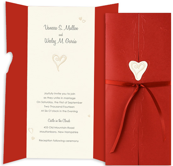 Printable Wedding Invitation Kit - Hidden Heart Ecru (10 Pack)