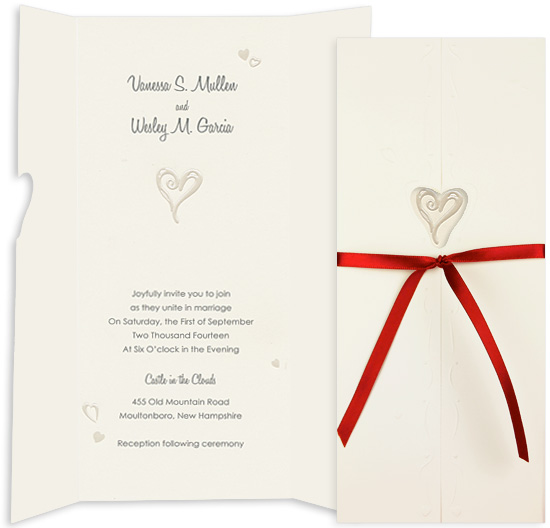 Printable Wedding Invitation Kit - One Heart Ecru (10 Pack)