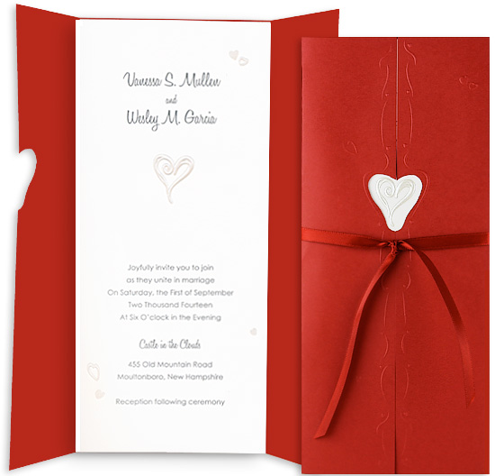 Printable Wedding Invitation Kit - Hidden Heart White (10 Pack)