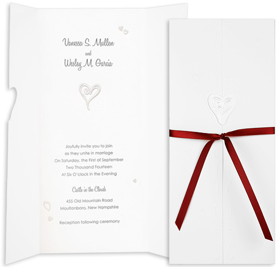 Printable Wedding Invitation Kit - Our Heart is One (10 Pack)