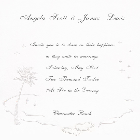 Printable Palm Tree Caribbean Wedding Invitation (50 Pack)