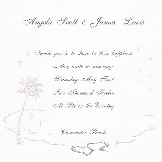 Printable Palm Tree Tropical Breeze Wedding Invitation (50 Pack)