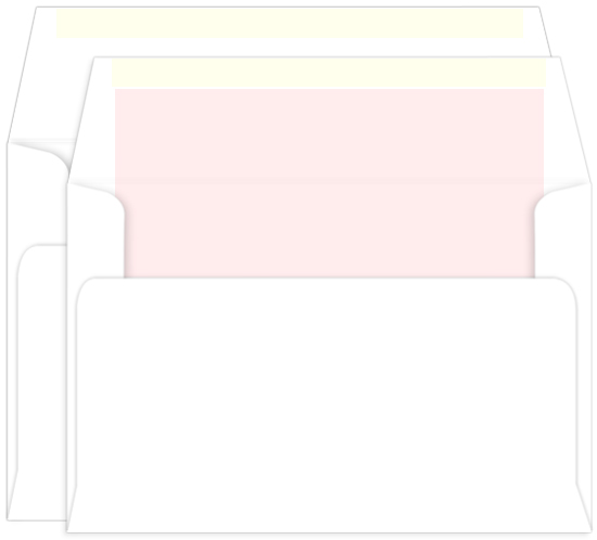 a9 double envelopes radiant white pink lined