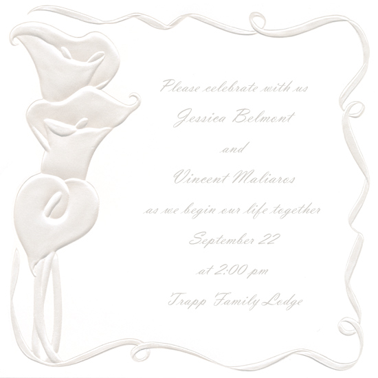 Square Calla Lily Blank Wedding Invitation (50 Pack)