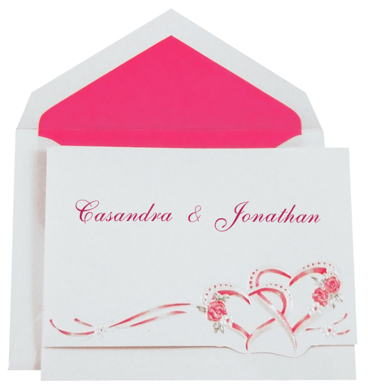 Wedding Invitation Kit - Interlocking Hearts Hot Pink (50 Pack)