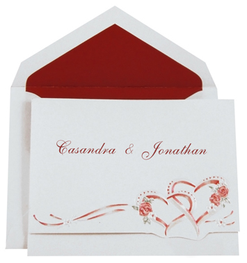 Wedding Invitation Kit - Interlocking Hearts Crimson (50 Pack)
